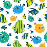 Seamless pattern with cartoon reef fish. Cartoon wallpaper with tropical fish - angelfish; balloon fish; treegerfish; moorish idol; butterfly fish. Vector Royalty Free Stock Photo