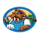 Cartoon walrus golf club Royalty Free Stock Photos