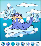 Cartoon walrus on an ice floe. complete the puzzle  Royalty Free Stock Photography
