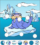 Cartoon walrus on an ice floe. complete the puzzle and find the Royalty Free Stock Image