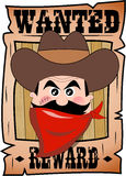Cartoon Wanted Poster with Bandit Face. Cartoon wanted poster with 3d face of fat cowboy with red bandanna and hat isolated on white background. Eps file is Stock Images