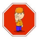 Cartoon warning sign stop with man in orange Royalty Free Stock Photography