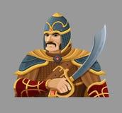 Cartoon warrior in armor Stock Photography