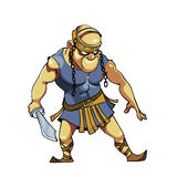 Cartoon warrior with a sword in Viking clothes Royalty Free Stock Image