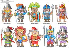 Warriors of the colonial era, set of vector images royalty free illustration