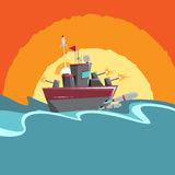 Cartoon Warship. Vector cartoon illustration of a warship firing all its weapons Stock Photography