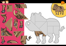 Cartoon warthog jigsaw puzzle game Stock Photos