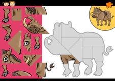 Cartoon warthog jigsaw puzzle game. Cartoon Illustration of Education Jigsaw Puzzle Game for Preschool Children with Funny Warthog Animal Character Stock Photos