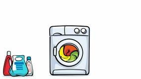 Cartoon washing machine working stock video footage