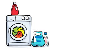 Cartoon washing machine working stock video