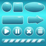 Cartoon Water Buttons and Loading Bar for GUI. Vector cartoon water buttons with bubbles in blue color; button templates and loading bar. Game asset with royalty free illustration