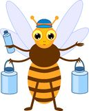 Cartoon water carrier bee. Isolated on white background royalty free illustration
