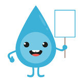 Cartoon water drop character with blank sign in hand Royalty Free Stock Photography