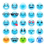 Cartoon Water Drops Emoticons Stock Image