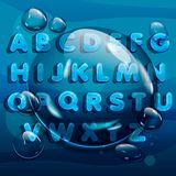 Cartoon water drops font, funny blue alphabet, vector comic letters and drobs. Cartoon water drops font, funny blue alphabet, vector comic letters and numbers royalty free illustration