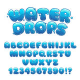 Cartoon water drops font. Funny blue alphabet, vector water letters and numbers royalty free illustration
