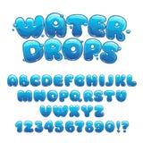 Cartoon water drops font Royalty Free Stock Photos