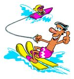 Cartoon water skier. Being towed by a boat giving a thumbs up sign, white background Stock Image