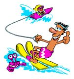 Cartoon water skiing  Royalty Free Stock Photos