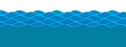 Cartoon water wave in plasticine or clay style. Royalty Free Stock Image