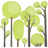 Cartoon Watercolor Trees Set Royalty Free Stock Photos