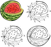 Cartoon watermellon. Vector illustration. Coloring and dot to do Stock Images