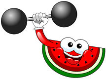 Cartoon watermelon bodybuilder isolated Royalty Free Stock Images