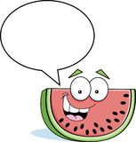 Cartoon watermelon with a caption balloon Stock Images