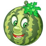 Cartoon watermelon character. Happy fruit symbol. Food icon. Design element for children`s coloring book, kids t-shirt print, labels, patches or stickers Stock Images