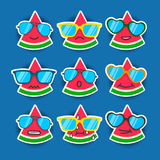 Cartoon watermelon emojis with sunglasses. Summer stickers flat style. berry faces Royalty Free Stock Photos