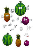 Cartoon watermelon, pineapple and plum fruits Royalty Free Stock Images
