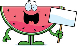 Cartoon Watermelon Sign. A cartoon illustration of a watermelon holding a sign Stock Photo