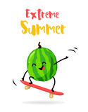 Cartoon watermelon with skateboard. Extreme Summer card. Flat style. Vector illustration.  Royalty Free Stock Photography