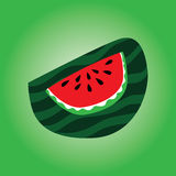 Cartoon watermelon the slice in on a green background Stock Photo