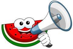 Cartoon watermelon speaking megaphone. Cartoon watermelon speaking with megaphone Stock Photography