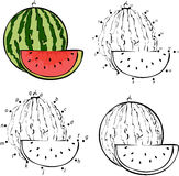 Cartoon watermelon. Vector illustration. Coloring and dot to dot Stock Photo