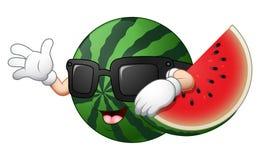 Cartoon watermelon waving hand. Illustration of Cartoon watermelon waving hand Stock Images