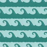 Cartoon waves seamless pattern. Seamless pattern with cartoon turquoise waves on blue background Royalty Free Stock Photography