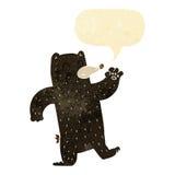 cartoon waving black bear with speech bubble Royalty Free Stock Photo