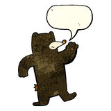 cartoon waving black bear with speech bubble Stock Photography