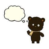 Cartoon waving black bear with thought bubble Stock Photos