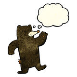 cartoon waving black bear with thought bubble Royalty Free Stock Images