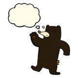 cartoon waving black bear with thought bubble Royalty Free Stock Photos