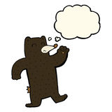 cartoon waving black bear with thought bubble Royalty Free Stock Photography