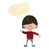 Cartoon waving boy with speech bubble Royalty Free Stock Images