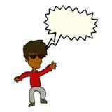 Cartoon waving cool guy with speech bubble Royalty Free Stock Photos
