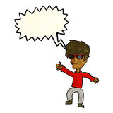 cartoon waving cool guy with speech bubble Royalty Free Stock Photography