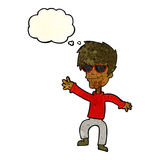 Cartoon waving cool guy with thought bubble Stock Photography