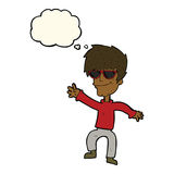cartoon waving cool guy with thought bubble Royalty Free Stock Photography