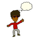 Cartoon waving cool guy with thought bubble Royalty Free Stock Photo